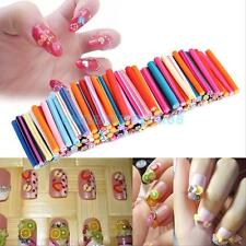 100Pcs DIY Fruit Flower Fimo Canes Rods Slice Wheel Nail Art Tips Glitters Decor