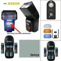 SPEEDLIGHT FLASH + COLOR DIFFUSER +LED LIGHT + BATTERIES FOR NIKON D3400 D3500