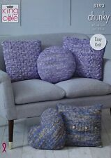 KNITTING PATTERN Easy Knit 5 Styles Cushions/Pillow Chunky King Cole 5193