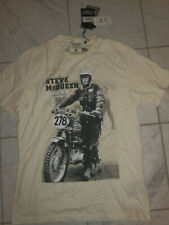 Mens Barbour International Steve Mcqueen Motorcycle t shirt M dirt bike beige