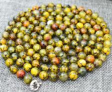 "Beautiful 8/10mm Yellow Dragon agate Round beads Gemstone Necklace 35"""