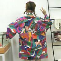 Japanese Lady Kimono Jacket Coat Cardigan Outwear Top Retro Haori Harajuku Loose