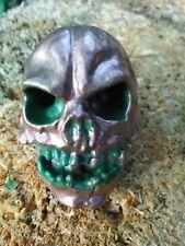 Skull Head Pommel - Solid Metal - Screw Back - CopperGreen