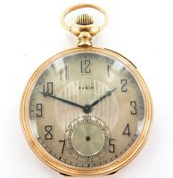 .RARE ONLY 28,200 MADE 1925 ELGIN 12S 17J POCKET WATCH W/ 14K GOLD CASE