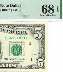 1995 $5 DALLAS FRN, PMG SUPERB GEM UNCIRCULATED 68 EPQ BANKNOTE