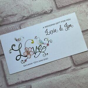 Personalised Handmade Money/Voucher/Gift Card Wallet LOVE  WEDDING ENGAGEMENT