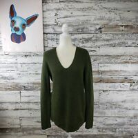 J. Crew Mercantile Womens V Neck Knit Sweater Long Sleeve Green Size Small