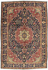 Vintage Floral Oriental Ardabil Rug, 7'x10', Blue, Hand-Knotted Wool Pile