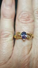 Alexandrite Pear Cut Ring 10k Solid Yellow Gold