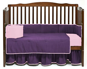 Unisex Baby Bedding Dust Ruffle Skirt with Piping Design Solid Colors All sizes