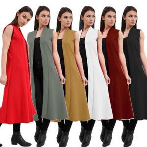 Women's Crepe Sleeveless Waist Front Open Duster Coat Ladies Long Maxi Cardigan