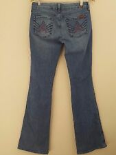 7 For All Mankind Mid Rise Boot Cut Pink Pixilated A Pocket Jeans 28 X 34