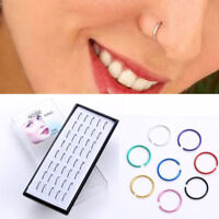 40Pcs/Box Stainless Steel Nose Studs Ring Hoop Body Piercing Jewelry Xmas Gifts