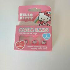 Hello Kitty Aqua Ears Soft Silicone Kids Ear Plugs 3 Pair