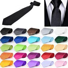 Premium Handmade Satin Plain Solid Formal Mens Classic Clip On Tie Multi Colours