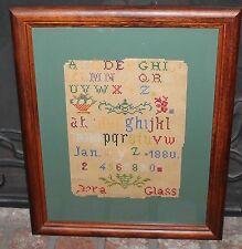 19Th Century Alphabet Sampler By Dora Glass Dated Jan. 2 1880 Framed