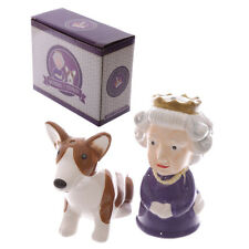 NEW AND BOXED QUEEN AND CORGI SALT AND PEPPER SET, GIFT IDEA