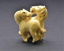 Vintage Japanese Double Horse Netsuke. Okimono Hand Made out