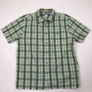 The North Face Men Green Plaid Button Front Short Sleeve Shirt sz XL