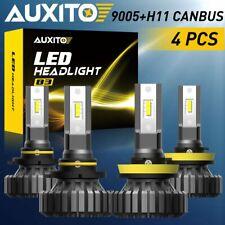 4X AUXITO H11 H8 + HB3 9005 LED Headlight Bulbs 6500K Fanless High Low Beam Kit