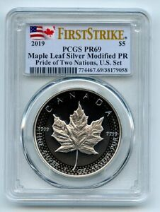 2019 $5 Modified Proof Silver Maple Leaf Pride of Two Nations PCGS PR69 FS