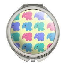 Cute Kawaii Baby Elephants Pattern Compact Travel Purse Handbag Makeup Mirror