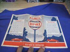 1930 DEEP ROCK oil road map ILLINOIS highway oil  gasoline STATION  MOTOR OIL