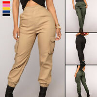 Women's Casual Trousers High Waist Hip Pop Combat Cargo Harem Pant Plain Legging