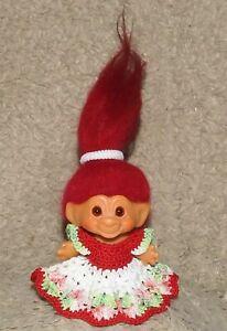 "Vintage DAM/ SHE troll 2.5"" - all ORIGINAL RED hair - ORANGE eyes"