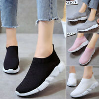 Womens Breathable Mesh Sneakers Slip On Running Sports Casual Pumps Sock Shoes