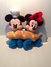 Disney Store Japan Delicatessen Mickey & Minnie with Baguette Plush New W Tags