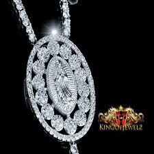 """MEN WOMEN DESIGNER ROSARY NECKLACE 14K WHITE GOLD FINISH WHITE LAB DIAMOND 32"""""""