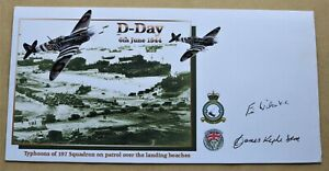 D DAY TYPHOONS 197 SQUADRON NO STAMP COVER SIGNED BY ERIC WILSON VC & JAMES KYLE
