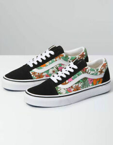 Vans Old Skool (Tropic Floral) Black Canvas Suede Shoes Size 8 Women's NIB New