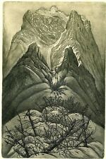 Vintage Original Limited Edition Etching Ex libris Graphic by  Herbert Kisza