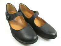 Mephisto Mary Janes Odalys Womens Black Leather Low Wedge Shoes Size US 7 1/2
