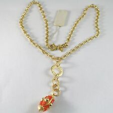 SILVER 925 NECKLACE YELLOW GOLD PLATED WITH HANGING CHARM MILLED AND CARNELIAN
