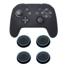 For Nintendo Switch Pro Black Soft Controller Grip Case + 4pcs Cap Black/Blue