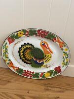 "Vintage Enamelware Turkey Platter Serving Tray Thanksgiving Enamel 18"""