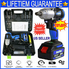 Cordless Electric Impact Wrench Gun 1/2'' Driver 420Nm/Li-ion Battery High Power