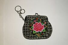 Coin Purse Mexican from Michoacan Rose Multi Color 4 x 5 Inches Clippable