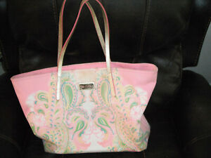 Lilly Pulitzer Resort Tote Bag DISCONTINUED PRINT HTF USED ONCE LEATHER HANDLES