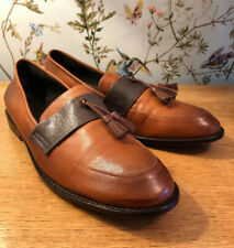 INITIAL Number 41 Men's Slip On Handmade Brown Leather Tassel Shoes RARE 8 / 42