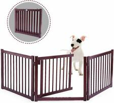 24'' Wood Dog Pet Gate Configurable Indoor Standing Folding Safety Gate Fence