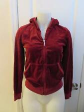 WOMENS JUICY COUTURE MAROON VELOUR FULL ZIP HOODIE JACKET SIZE L