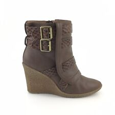 Kathy Van Zeeland Sz 7 Brown Faux Snakeskin Detail Vegan Leather Wedge Boots F37