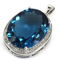 25x20mm Classic Big Oval Gemstone 22x18mm London Blue Topaz CZ Silver Pendant