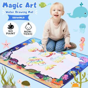 Kids Drawing Mat Aqua Doodle Mat Water Painting Board Magic Writing 6 Pens Toy