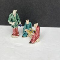 """Chinese Vintage Mudmen Small 2"""" Figurines Having Tea"""