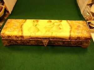 #1 of 2, BEAUTIFUL VTG ANTIQUE VICTORIAN ERA CELLULOID GLOVE or VANITY GOLD BOX